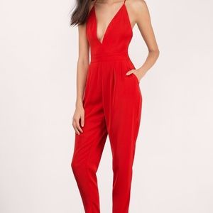 Red Plunging Jumpsuit